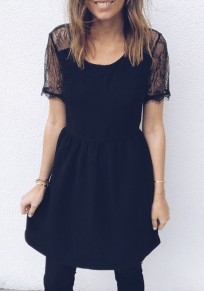 Black Patchwork Lace Cut Out Zipper Round Neck Mini Dress
