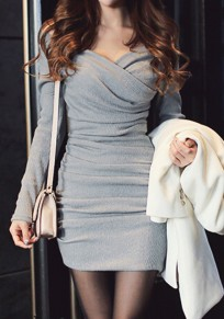 Grey Plain Ruffle V-neck Long Sleeve Party Mini Dress
