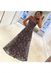 Black Flowers Embroidery Zipper Double-deck Round Neck Party Maxi Dress