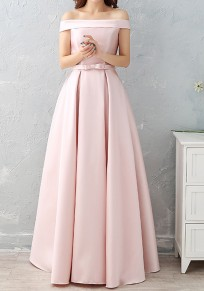 Pink Pleated Bow Lace-up Off Shoulder Boat Neck Sleeveless Maxi Dress