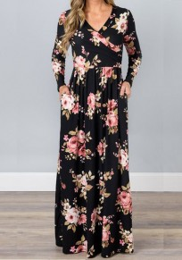 Black Floral Ladies Draped Pockets V-neck Long Sleeve Beach Maxi Dress