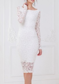 White Lace Round Neck Long Sleeve Bodycon Fashion Midi Dress