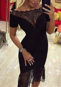 Black Patchwork Lace Ruffle Round Neck Short Sleeve Midi Dress