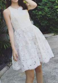 White Lace Pleated Round Neck Sleeveless Tutu Mini Dress