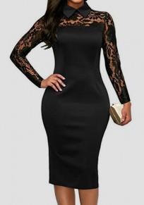 Black Patchwork Lace Turndown Collar Slim Elegant Office Worker Midi Dress