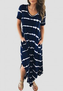 Navy Blue-White Striped Pockets Side Slit V-neck Casual Maxi Dress
