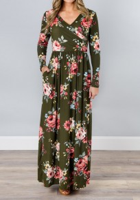 Army Green Floral Draped Pockets V-neck Long Sleeve Casual Maxi Dress