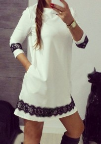 White Patchwork Draped Lace Round Neck Long Sleeve Mini Dress