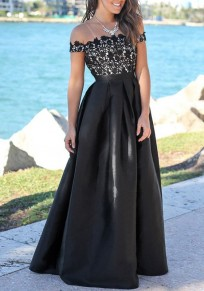 Black Patchwork Floral Lace Off Shoulder Backless High Waisted Banquet Party Maxi Dress