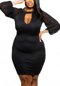 Black V-neck Lantern Sleeve Plus Size Fashion Mini Dress