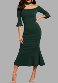 Dark Green Ruffle Off Shoulder Backless Halter Neck Mermaid Elegant Party Maxi Dress