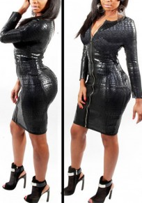 Black Zipper Sanke Skin Pattern Faux Leather Plus Size Clubwear Party Midi Dress