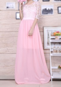 Pink Draped Lace Bridesmaid 3/4 Sleeve Elegant Party Maxi Dress