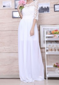 White Draped Lace Bridesmaid 3/5 Sleeve Elegant Party Maxi Dress