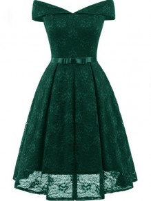 Green Lace Off Shoulder Draped Bow Elegant Party Midi Dress