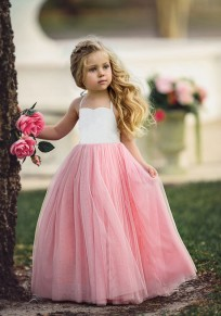 8454f46b75aa Pink-White Patchwork Grenadine Draped Backless High Waisted Daddy Daughter  Dance Cute Maxi Dress