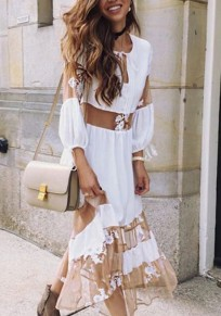 White Grenadine Lace Draped Lace-up Deep V-neck Bohemian Las Vegas Sweet Maxi Dress