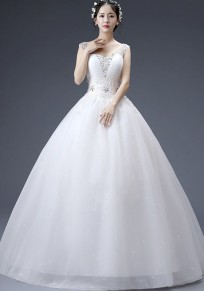 White Grenadine Rhinestone Cross Back V-neck Elegant Tutu Wedding Gowns Maxi Dress