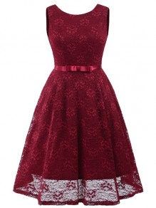 Burgundy Lace Bow Pleated Backless Vintage Elegant Party Maxi Dress
