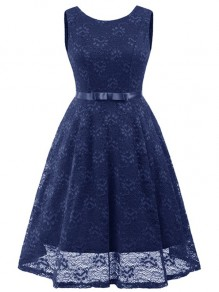 Navy Blue Lace Bow Pleated Backless Vintage Elegant Party Maxi Dress