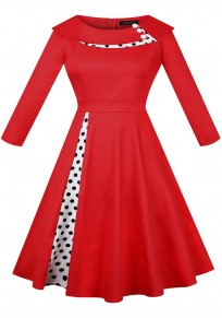 Burgundy Polka Dot Pleated Tutu Turndown Collar Hepburn Vintage Party Midi Dress