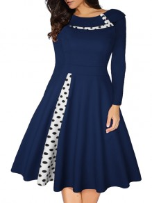 Blue Polka Dot Pleated Tutu Turndown Collar Hepburn Vintage Party Midi Dress