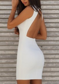 White Zipper Cut Out V-neck Fashion Mini Dress
