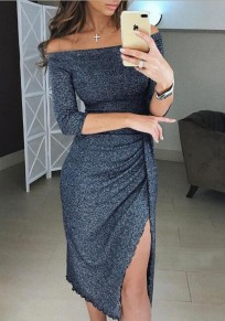 Dark Grey Bright Wire Irregular Slit Off Shoulder Backless Cocktail Party Midi Dress