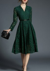 Green Patchwork Lace Draped Belt V-neck Elegant Midi Dress