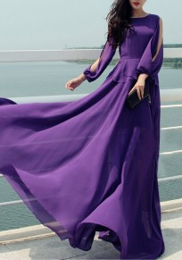 Purple Draped Cut Out Round Neck Bohemian Maxi Dress