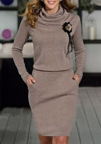 Coffee Pockets Pleated Ruffle Collar Long Sleeve Casual Mini Dress