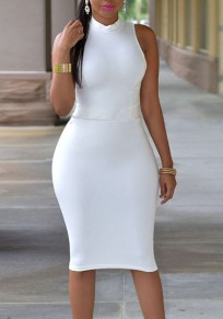 White Cut Out Bodycon Plus Size Pencil Skirt Party Formal Midi Dress