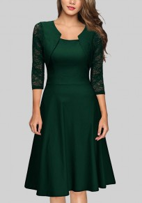 Green Patchwork Lace Pleated False 2-in-1 St. Patrick's Day 3/4 Sleeve Elegant Midi Dress