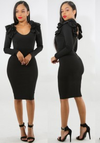 Black Ruffle Backless Bodycon Elegant Banquet Party Midi Dress