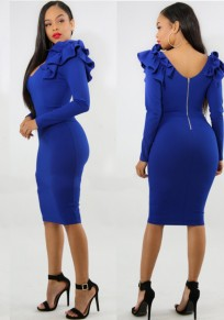 Blue Ruffle Backless Bodycon Elegant Banquet Party Midi Dress
