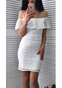 White Ruffle Lace Bodycon Off Shoulder Backless Elegant Party Mini Dress