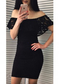 a1e1b743b443 Black Ruffle Lace Bodycon Off Shoulder Backless Elegant Party Mini Dress