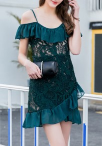 Dark Green Patchwork Lace Ruffle Spaghetti Strap Irregular Cute Mini Dress
