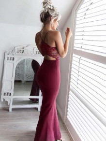 Wine Red Patchwork Cut Out Condole Belt V-neck Maxi Dress