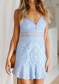 Light Blue Cut Out Pleated Spaghetti Strap Backless Deep V-neck Sweet Mini Dress
