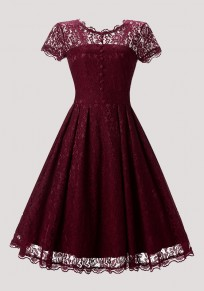Wine Red Patchwork Lace Pleated Buttons Round Neck Vintage Midi Dress