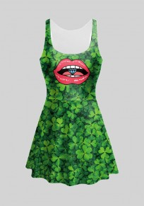 Green Four Leaf Clover Print Pleated Shamrock Cute St. Patrick's Day Midi Dress