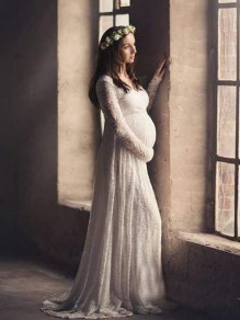 01e9bd3b701 White Floral Lace Pleated Deep V-neck Maternity Photoshoot Elegant Maxi  Dress
