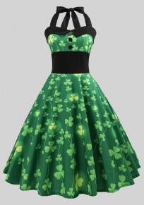 Green Shamrock Shoulder Strap Halter Neck St. Patrick's Day Party Midi Irish Dress