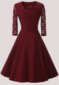 Wine Red Patchwork Lace Irregular Round Neck Elegant Midi Dress