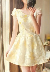 Yellow Pleated Cut Out Tutu Sweet Going out Mini Dress