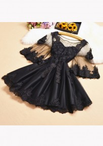 Black Patchwork Appliques Ruffle Grenadine Round Neck Sweet Mini Dress