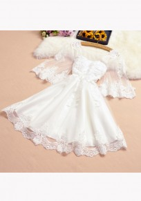 White Patchwork Appliques Ruffle Grenadine Round Neck Sweet Mini Dress