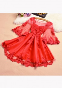 Red Patchwork Appliques Ruffle Grenadine Round Neck Sweet Mini Dress