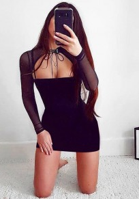 Black Patchwork Grenadine Drawstring Cut Out Long Sleeve Mini Dress